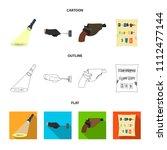 the detective's flashlight... | Shutterstock .eps vector #1112477144
