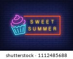 sweet summer neon text in frame ... | Shutterstock .eps vector #1112485688