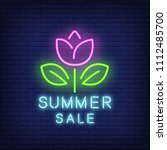 summer sale neon text with... | Shutterstock .eps vector #1112485700