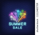 summer sale neon text with... | Shutterstock .eps vector #1112485709
