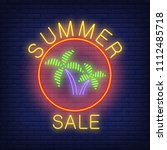 summer sale neon text and palms ... | Shutterstock .eps vector #1112485718
