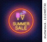 summer sale neon text and ice... | Shutterstock .eps vector #1112485730
