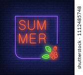 summer neon text in frame with... | Shutterstock .eps vector #1112485748
