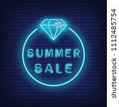 summer sale neon text and... | Shutterstock .eps vector #1112485754