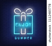 enjoy summer neon text and gift ... | Shutterstock .eps vector #1112485778