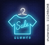 summer sale neon text with t... | Shutterstock .eps vector #1112486348