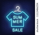 summer sale neon text and... | Shutterstock .eps vector #1112486354