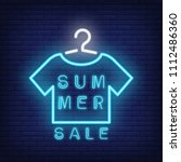summer sale neon text with... | Shutterstock .eps vector #1112486360