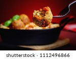 healthy meatballs and spaghetti | Shutterstock . vector #1112496866