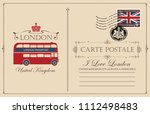 retro postcard with the london... | Shutterstock .eps vector #1112498483