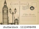 retro postcard with big ben in... | Shutterstock .eps vector #1112498498