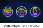 set of three neon glowing signs ... | Shutterstock .eps vector #1112499650