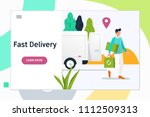 delivery man courier service... | Shutterstock .eps vector #1112509313