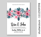 tropical summer floral wedding... | Shutterstock .eps vector #1112509598