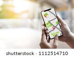 gps map to route destination... | Shutterstock . vector #1112514710