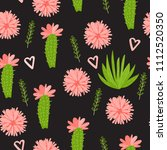 cactus with flowers seamless...   Shutterstock .eps vector #1112520350