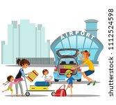 airport transfer  happy family... | Shutterstock .eps vector #1112524598
