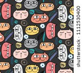 cute cat and floral pattern...   Shutterstock .eps vector #1112530400