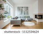 spacious white living room... | Shutterstock . vector #1112534624