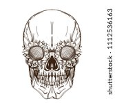 skull contour sketch for tattoo ... | Shutterstock .eps vector #1112536163