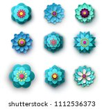set of bright blue and... | Shutterstock .eps vector #1112536373