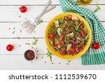 healthy dinner.  salad bowl... | Shutterstock . vector #1112539670