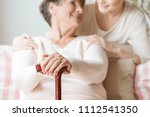 close up of elderly woman... | Shutterstock . vector #1112541350