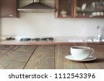 cup of black coffee on wooden... | Shutterstock . vector #1112543396