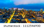 wide angle skyline city view... | Shutterstock . vector #1112546930