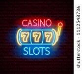 casino 777 slots neon label. on ... | Shutterstock .eps vector #1112548736