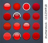 set of blank red round buttons... | Shutterstock .eps vector #111254918