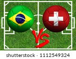 Small photo of Opposition of two teams of Brazil and Switzerland on the football field
