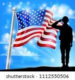 a patriotic soldier standing in ...   Shutterstock .eps vector #1112550506