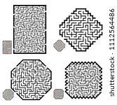 set of labyrinths  mazes...   Shutterstock .eps vector #1112564486