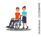 girl volunteer helping guy with ... | Shutterstock .eps vector #1112568440