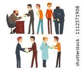 people giving bribes set ... | Shutterstock .eps vector #1112571908