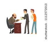 two men giving money to get...   Shutterstock .eps vector #1112572013