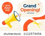 grand opening poster or banner... | Shutterstock .eps vector #1112573456