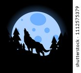 silhouette of wolf howling at... | Shutterstock .eps vector #1112575379