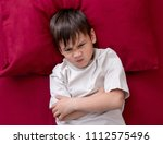 naughty little boy won't go to... | Shutterstock . vector #1112575496