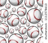 seamless pattern with baseball... | Shutterstock .eps vector #1112578613