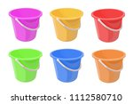 bucket different color set...   Shutterstock .eps vector #1112580710