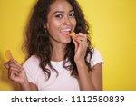 close up portrait of pretty... | Shutterstock . vector #1112580839