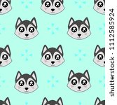 cute kids wolf pattern for... | Shutterstock . vector #1112585924