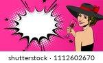 elegance pop art woman in hat... | Shutterstock .eps vector #1112602670