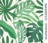 seamless watercolor tropical... | Shutterstock . vector #1112605490