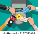 hands with transport card ... | Shutterstock .eps vector #1112606624