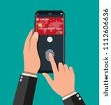 payment app  bank card on... | Shutterstock .eps vector #1112606636