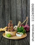 grill ox tongue with herbs ... | Shutterstock . vector #1112608850