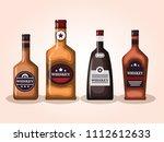 best whiskey set bottles | Shutterstock .eps vector #1112612633